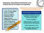enterprise class ethernet switches lack critical service provider pre requisites