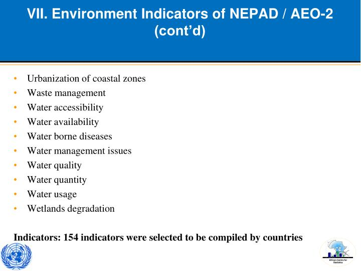VII. Environment Indicators of NEPAD / AEO-2 (cont'd)