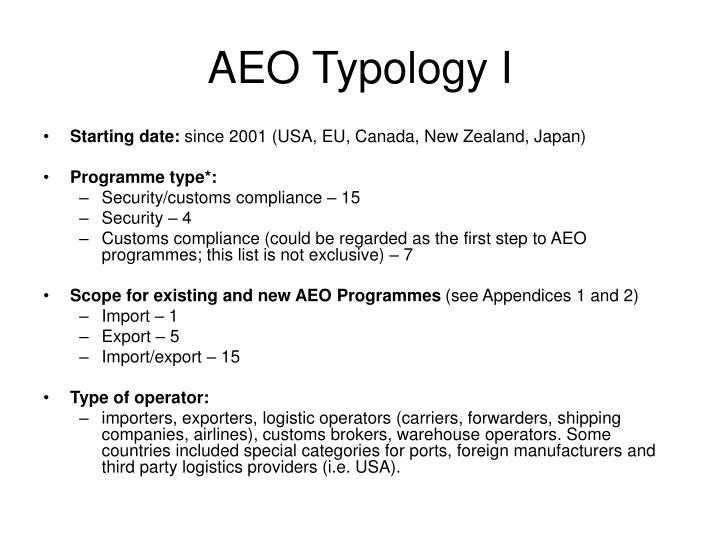 AEO Typology I