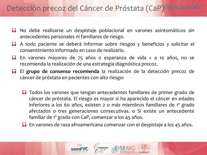 Detección precoz del Cáncer de Próstata (