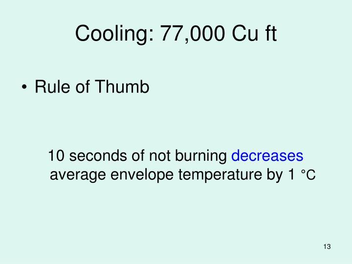 Cooling: 77,000 Cu ft