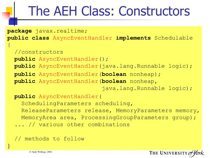 The AEH Class: Constructors
