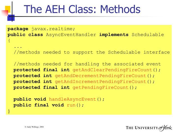The AEH Class: Methods