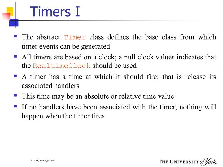 Timers I