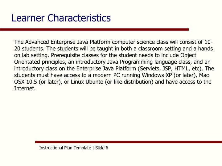 Learner Characteristics