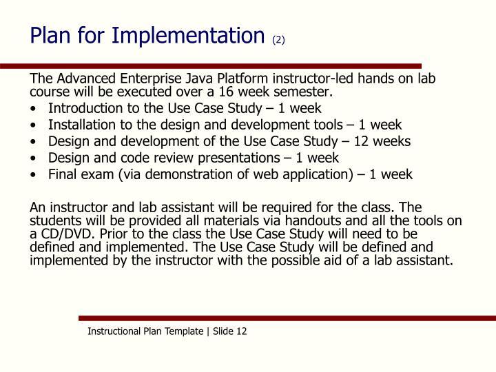Plan for Implementation