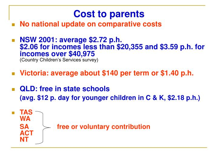 Cost to parents