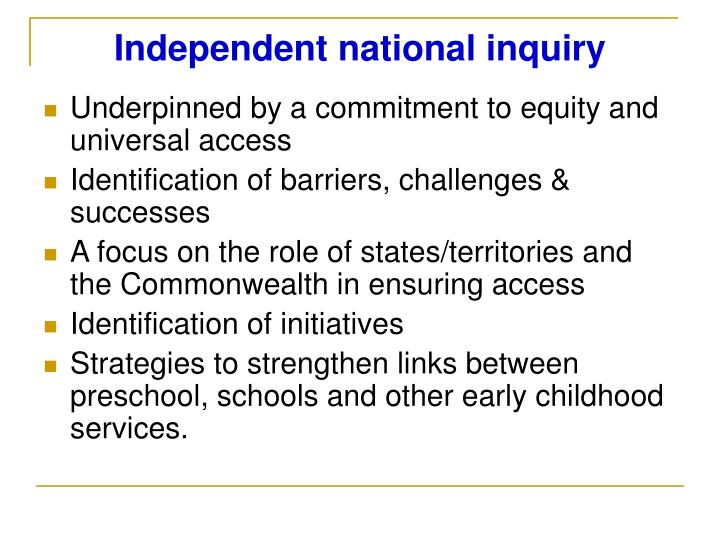 Independent national inquiry
