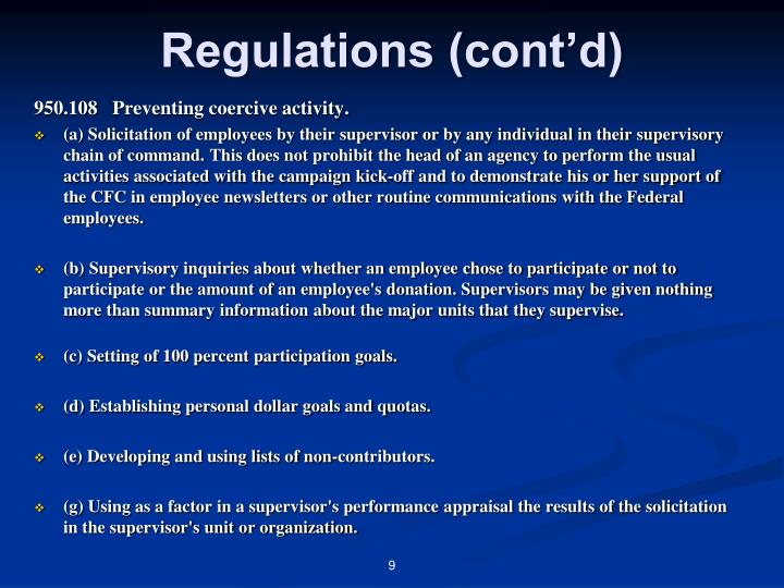 Regulations (cont'd)