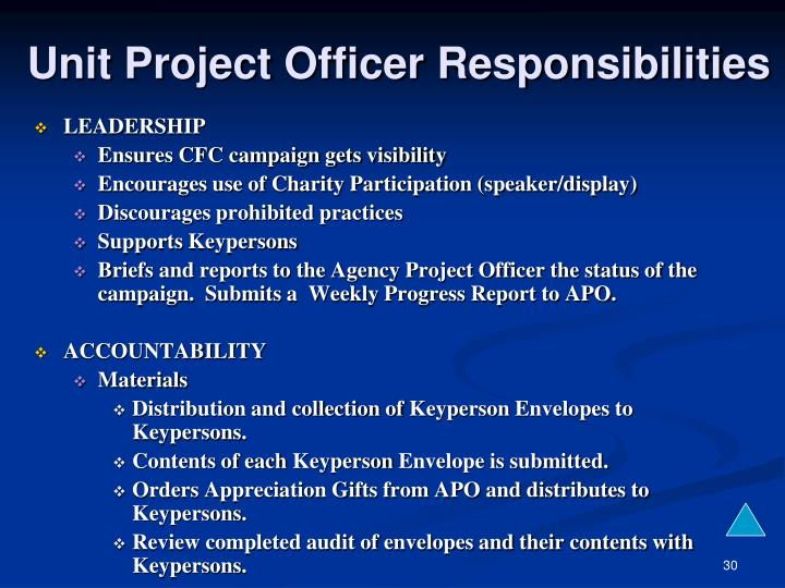 Unit Project Officer Responsibilities