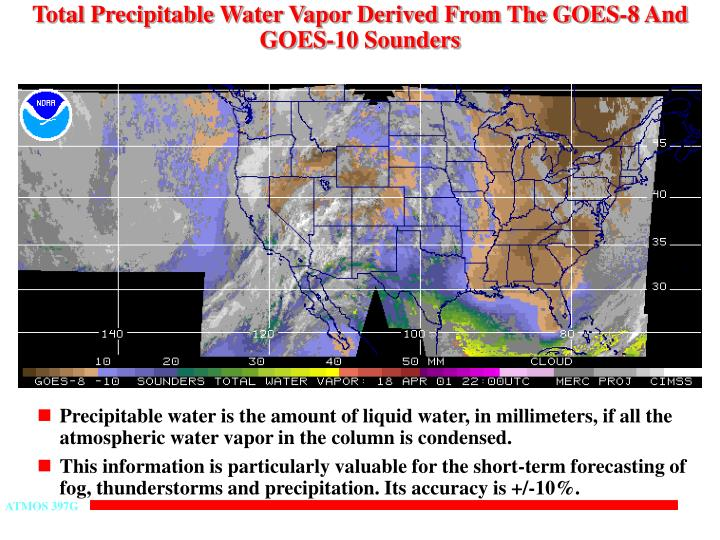 Total Precipitable Water Vapor Derived From The GOES-8 And GOES-10 Sounders