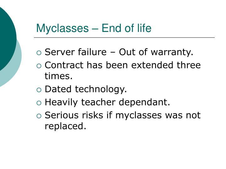 Myclasses – End of life