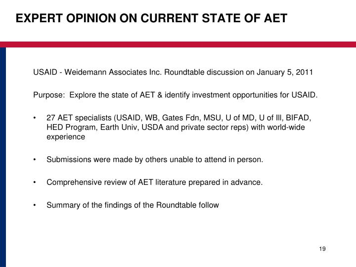 EXPERT OPINION ON CURRENT STATE OF AET