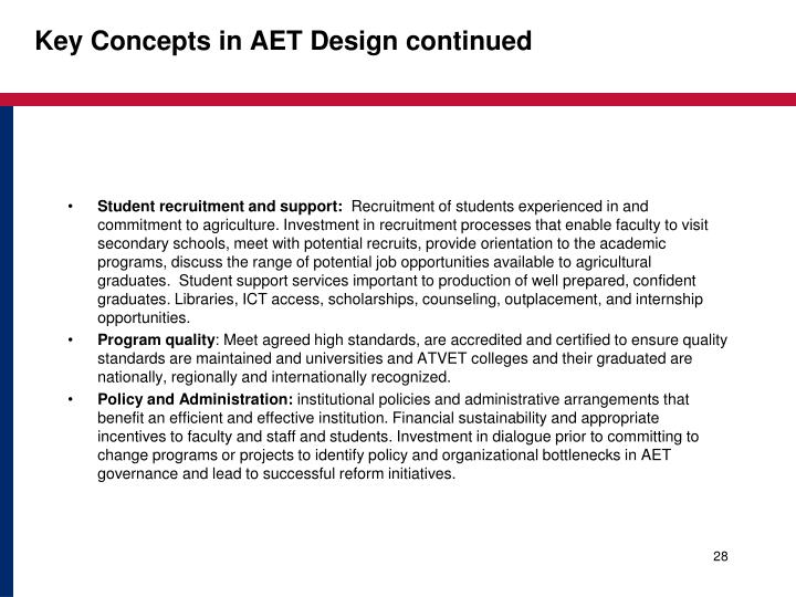 Key Concepts in AET Design continued