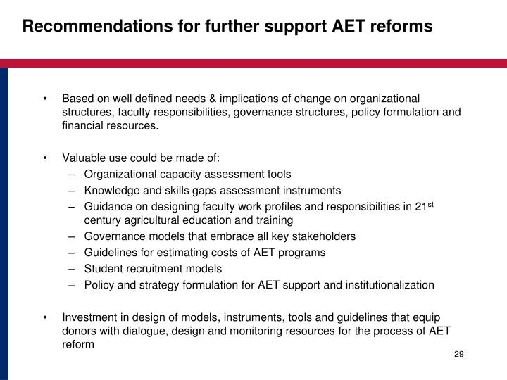 Recommendations for further support AET reforms