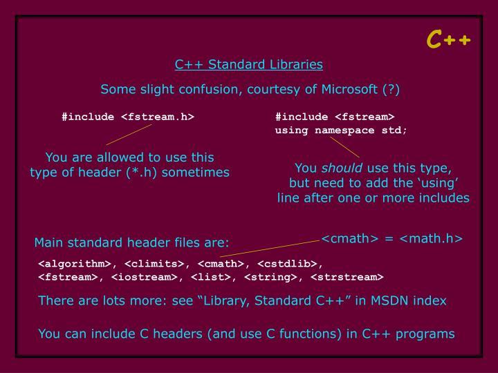 C++ Standard Libraries