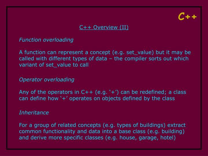 C++ Overview (II)