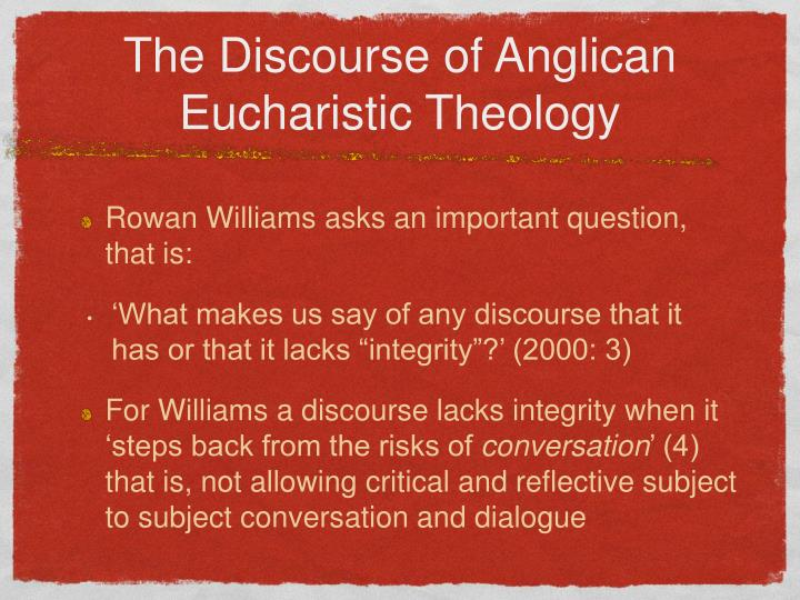 The discourse of anglican eucharistic theology