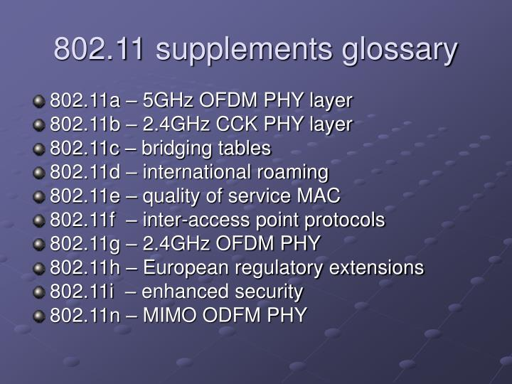 802.11 supplements glossary