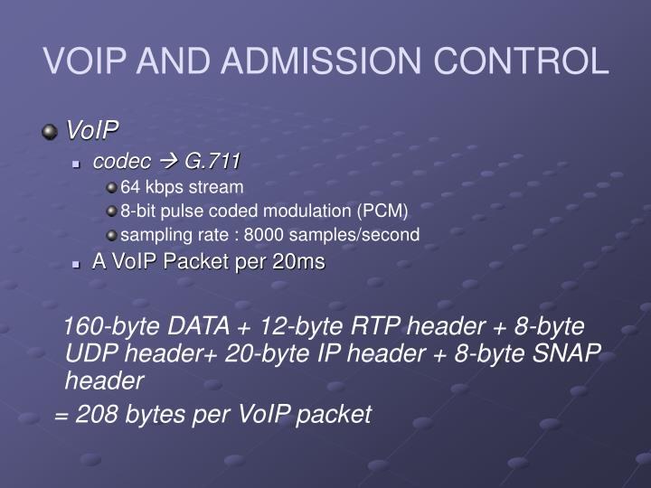 VOIP AND ADMISSION CONTROL