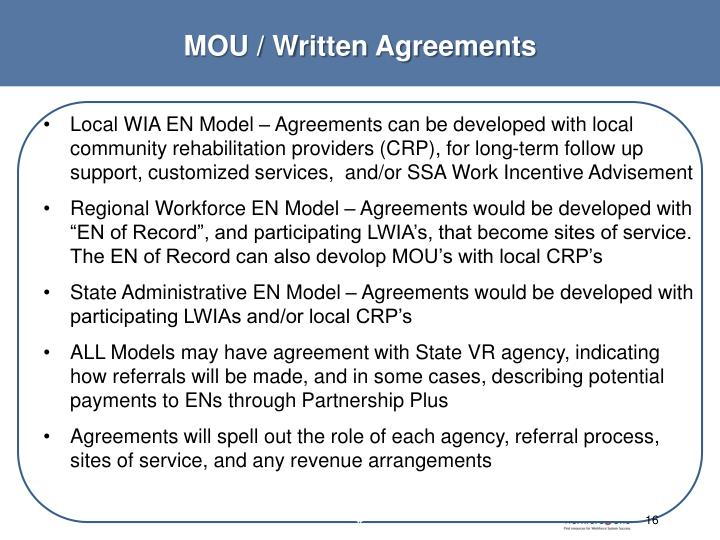 MOU / Written Agreements