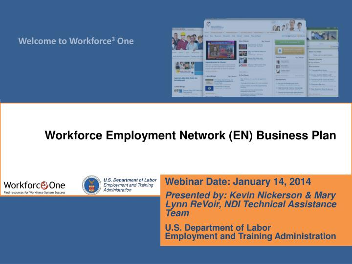 Workforce Employment Network (EN) Business Plan