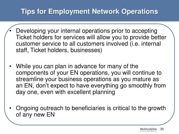 Tips for Employment Network Operations