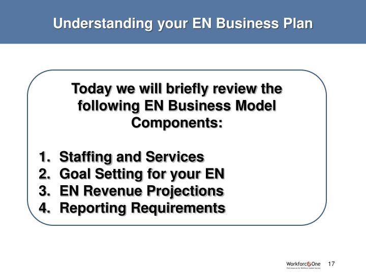 Understanding your EN Business Plan