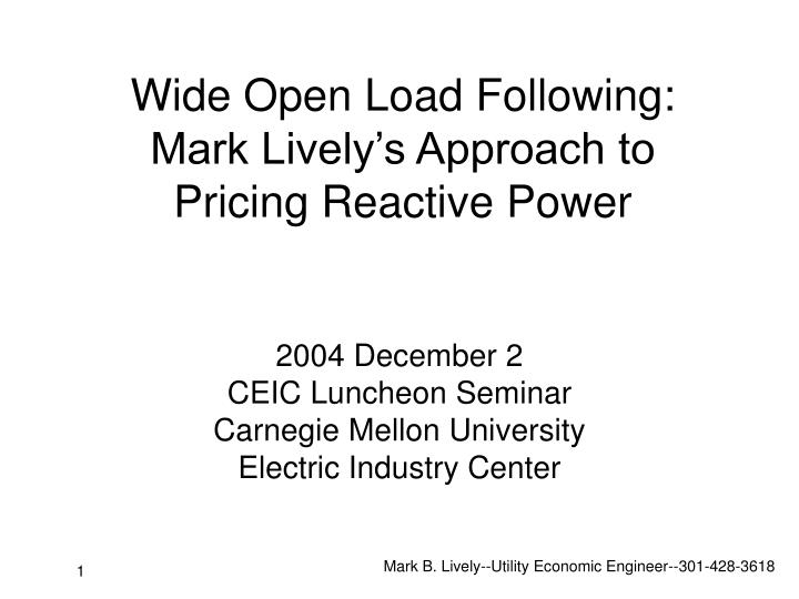 Wide open load following mark lively s approach to pricing reactive power