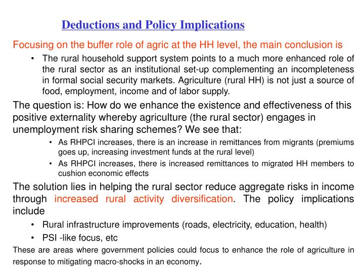 Deductions and Policy Implications