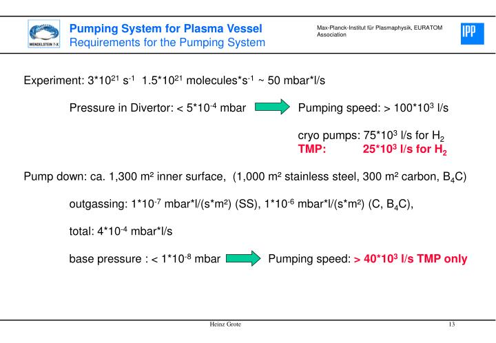 Pumping System for Plasma Vessel