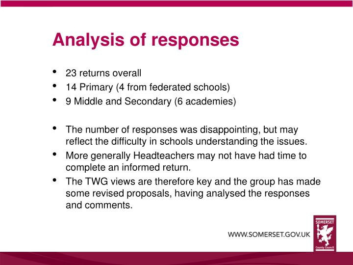 Analysis of responses