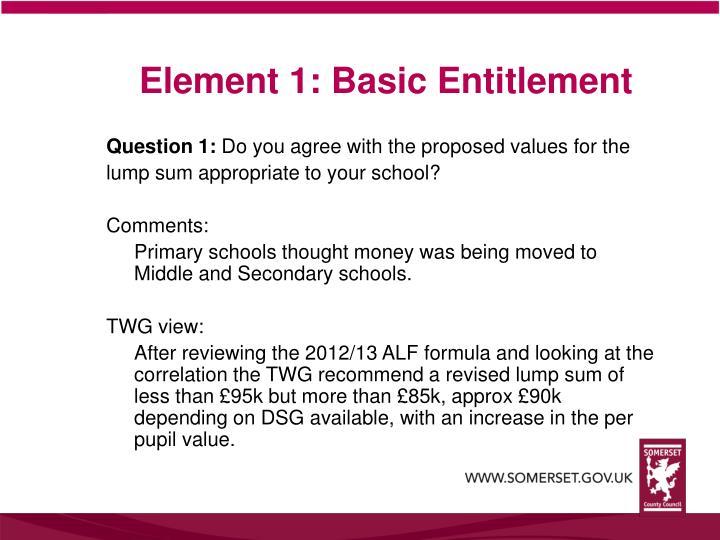 Element 1 basic entitlement