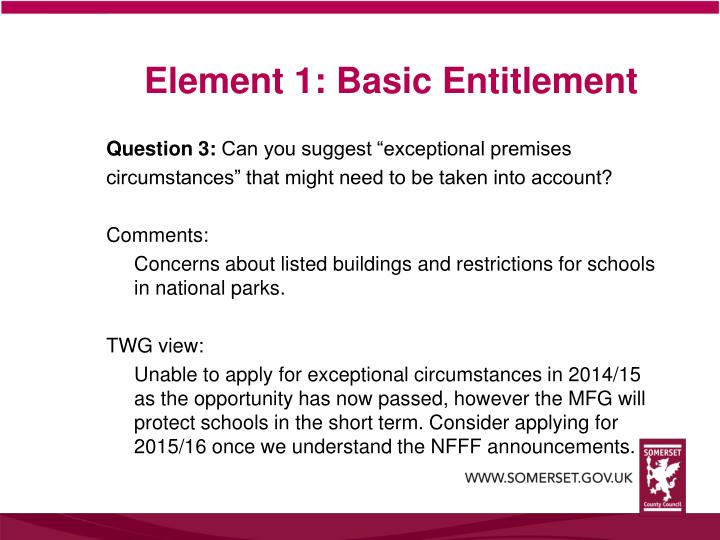 Element 1: Basic Entitlement