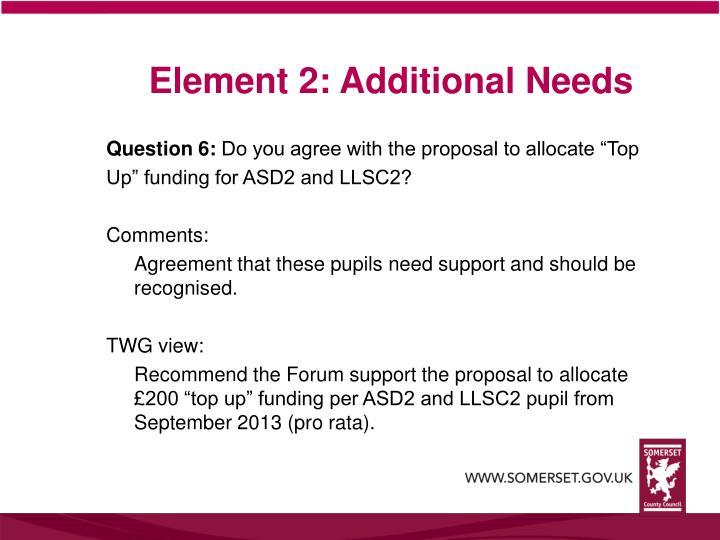 Element 2: Additional Needs
