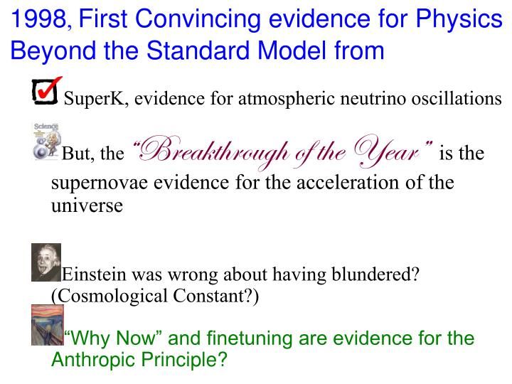 1998 first convincing evidence for physics beyond the standard model from
