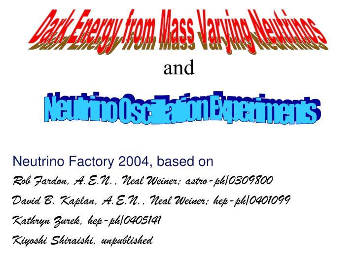 Dark Energy from Mass Varying Neutrinos
