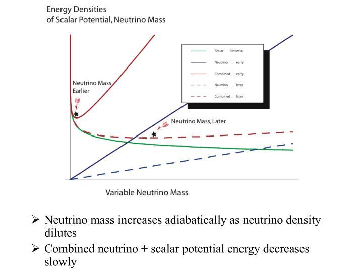 Neutrino mass increases adiabatically as neutrino density dilutes