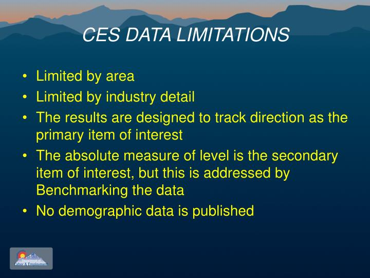 CES DATA LIMITATIONS