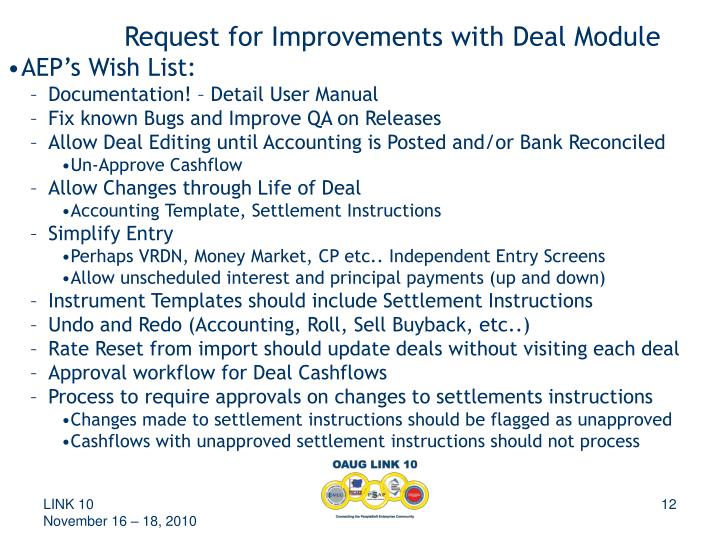 Request for Improvements with Deal Module