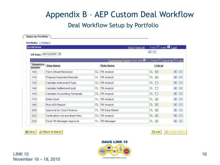 Appendix B – AEP Custom Deal Workflow