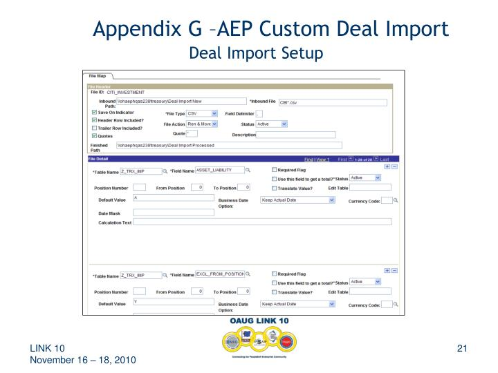 Appendix G –AEP Custom Deal Import