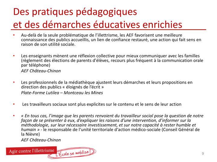 Des pratiques pédagogiques