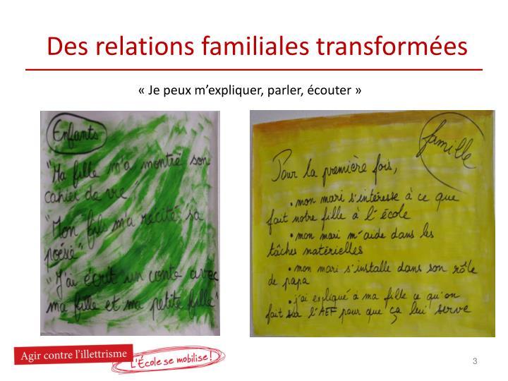 Des relations familiales transform es