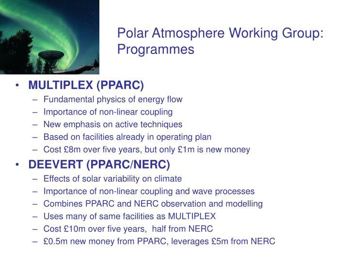 Polar Atmosphere Working Group:  Programmes