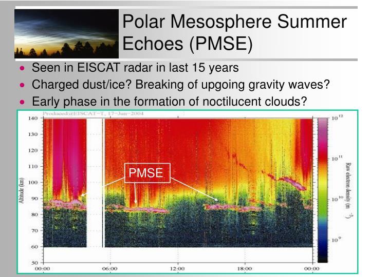 Polar Mesosphere Summer Echoes (PMSE)