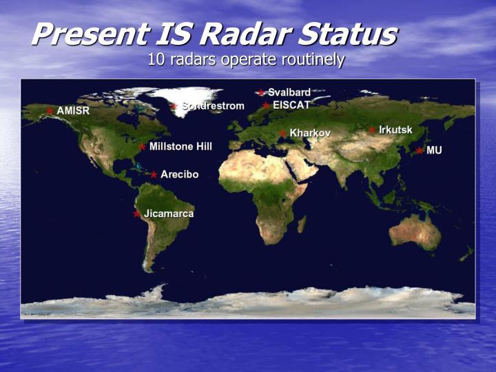 Present IS Radar Status