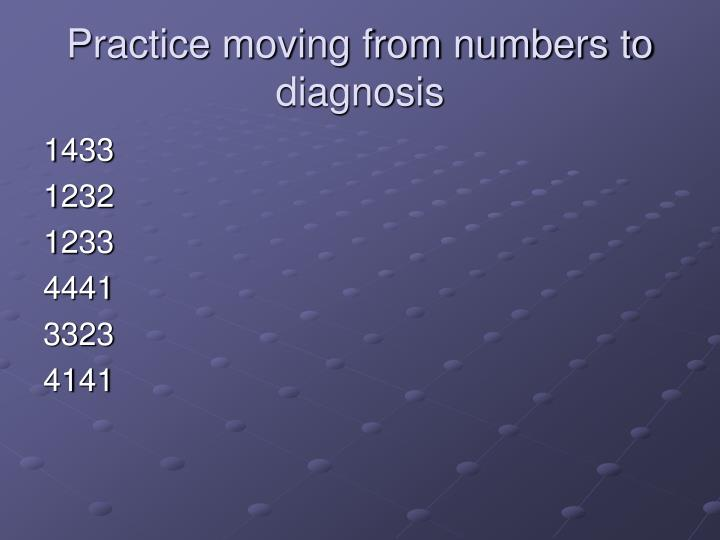 Practice moving from numbers to diagnosis