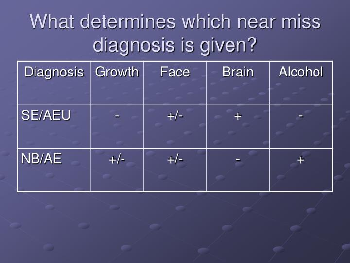 What determines which near miss diagnosis is given?