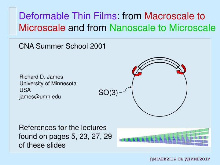 Deformable thin films from macroscale to microscale and from nanoscale to microscale